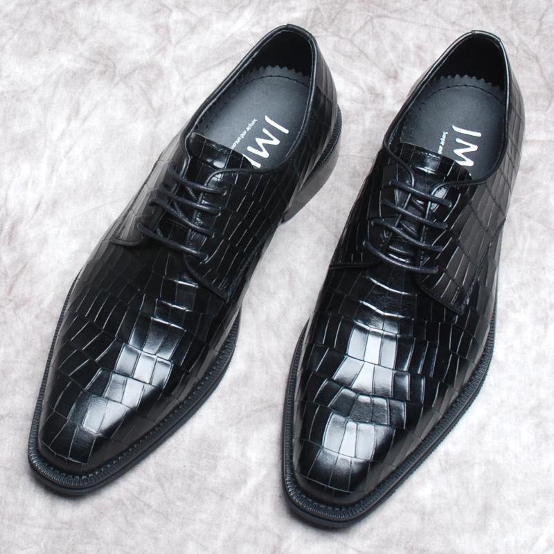 意大利牛津手工方头男鞋商务正装英伦鳄鱼纹真皮固特异皮鞋男婚鞋