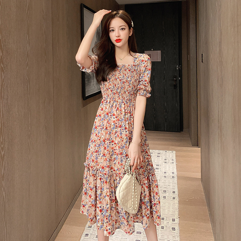 Floral dress French waist show thin retro knee length skirt and ankle 2020 summer new temperament female design