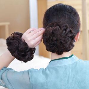 假发半丸子头花苞头花卷皮筋发圈蓬松发包真发顶头盘发短卷逼真女