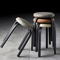 查看餐桌凳子家用简约现代创意客厅铁艺板凳北欧轻奢皮革餐厅圆凳高凳价格