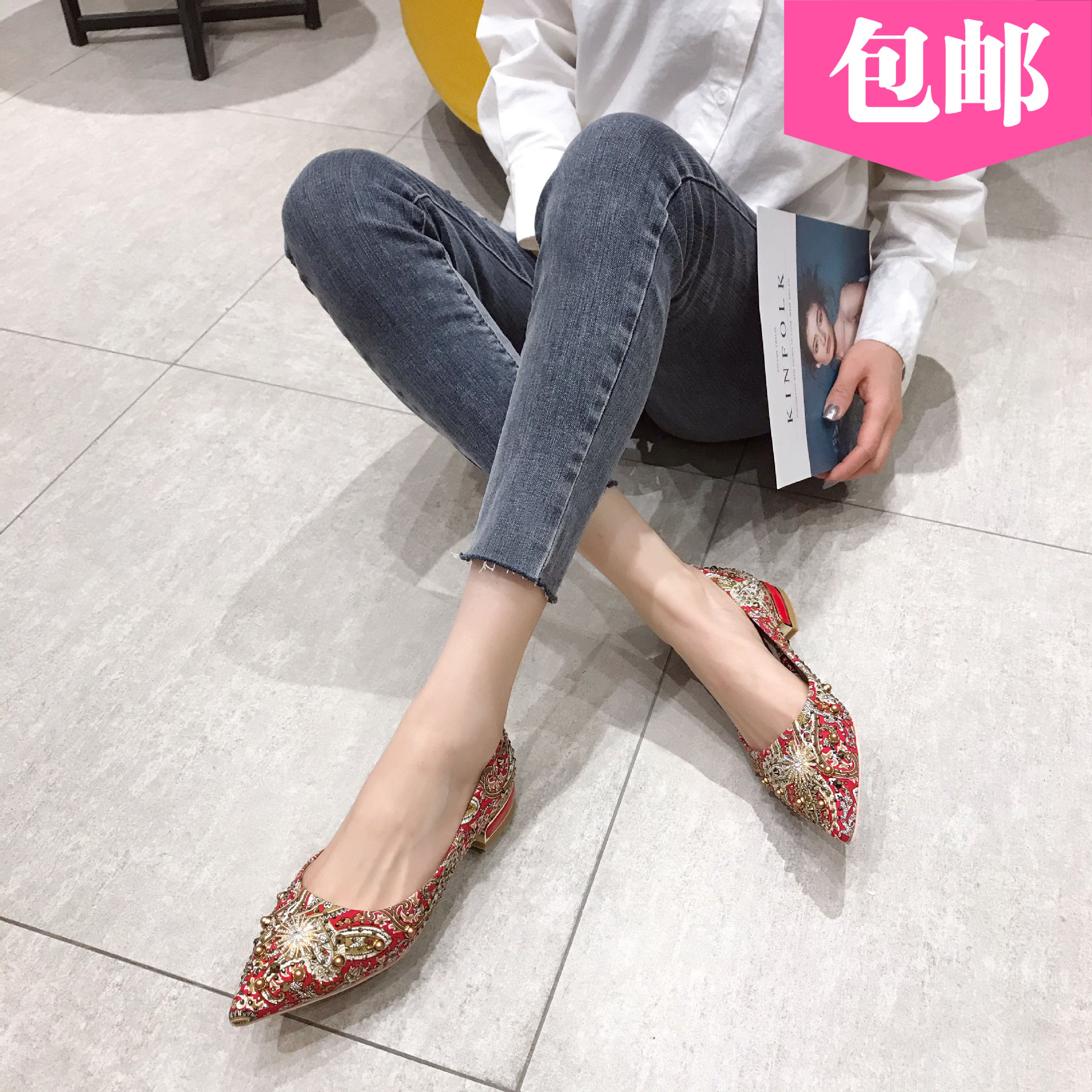 婚鞋尖头悠闲鞋女装休闲女式新款中式低跟平跟水钻新娘鞋铆钉伴娘