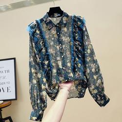 2020秋季新款复古洋气设计感灯笼袖网纱拼接碎花雪纺衫女上衣衬衫