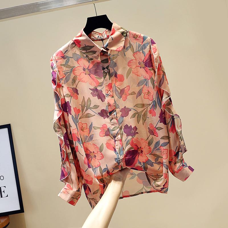 11月12日最新优惠2019新款夏季韩版显瘦设计感荷叶边长袖花朵雪纺衫女洋气港味衬衫
