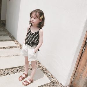 夏季女童白色短裤外穿热裤牛仔薄款洋气宝宝婴儿2021新款棉麻短裤