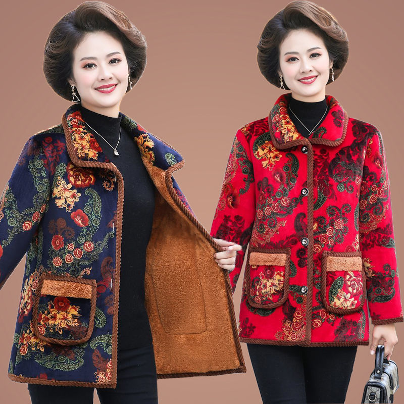 Mothers winter cotton padded jacket medium long Plush thickened coat warm grandmothers cotton padded jacket large size middle-aged and old womens clothing