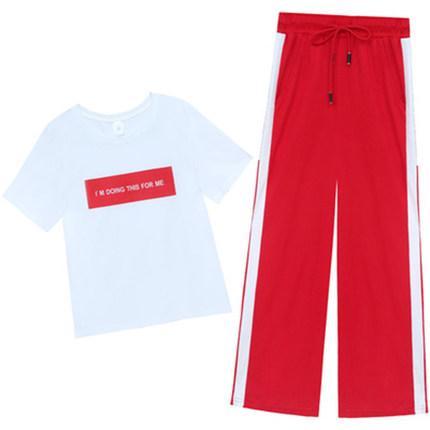 棉上衣宽松短袖套装女夏2019运动服