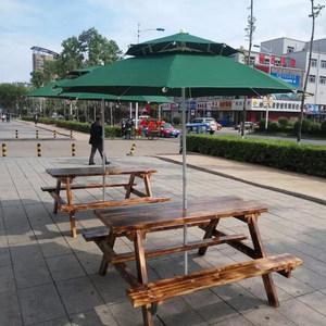 庭院阳台桌椅实木连体桌椅伞桌椅
