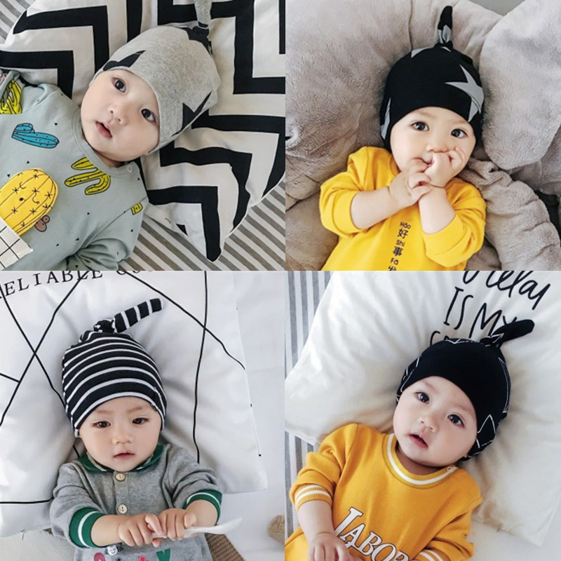 婴儿春秋帽子男女新生儿套头帽01-2岁外出帽3-6-9-12个月新款帽子