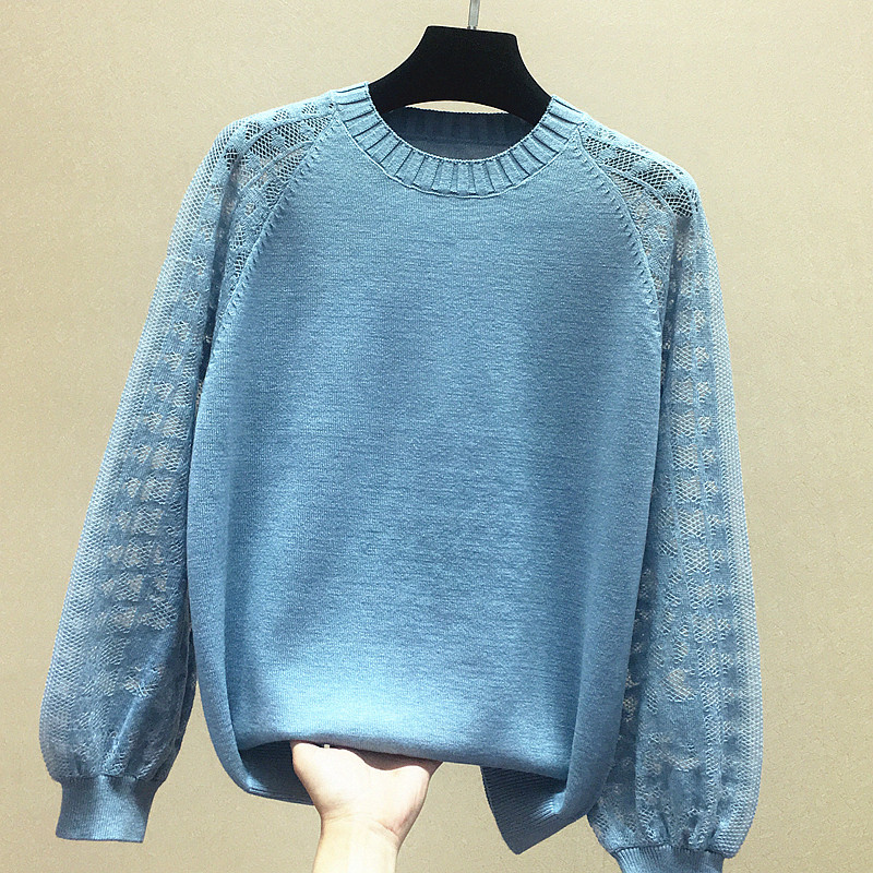 2021 spring new round neck sweater short loose hollow bottomed blouse womens long sleeve Korean lace sleeve sweater