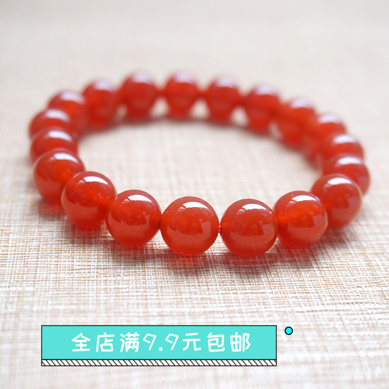 Jiahe red agate crystal gemstone single ring bracelet for men and women lovers