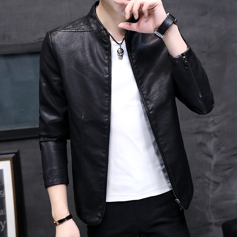Leather Mens Korean mens coat slim trend autumn and winter new mens handsome youth leather jacket
