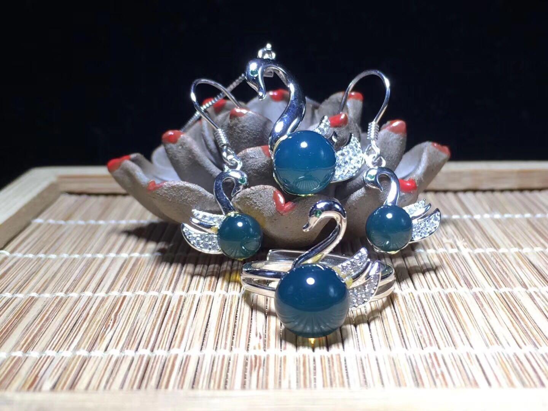 墨西哥蓝珀小天鹅款925纯银镶嵌项链戒指耳钉三件套店长推荐热卖