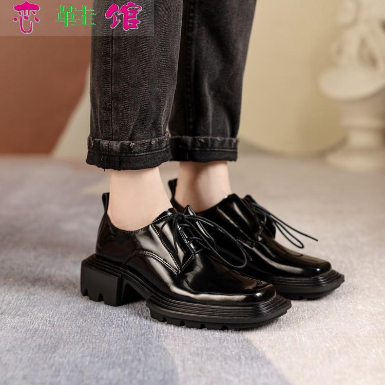 刘雯同款德比鞋2021年新款Untitlab方头绑带男女厚底增高暗黑皮鞋