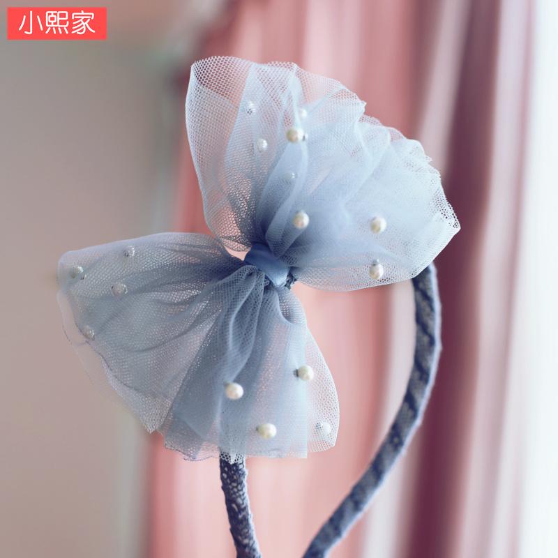 仙女款韩国进口儿童发饰女孩纱纱蝴蝶结发箍小学生宝宝仿珍珠头箍