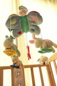 韩国新生儿安抚布艺音乐床铃婴儿旋转床挂0到1岁宝宝毛绒风铃