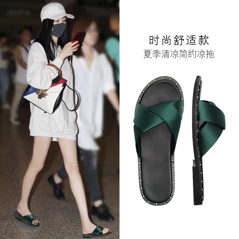 chic网红凉拖鞋女士夏季2019新款外穿时尚平底鞋女百搭韩版一字拖
