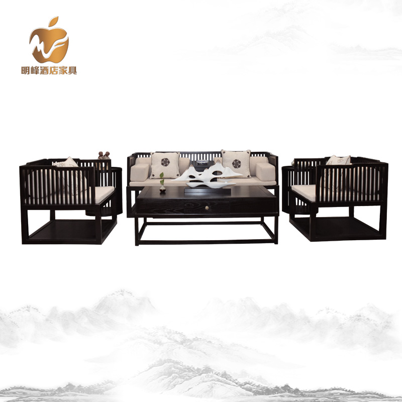 New Chinese modern solid wood full set of Zen sofa customized furniture