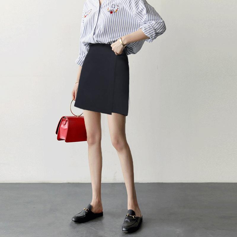 2018夏新款韩版高腰环扣装饰不规则chic短裙半身裙百搭a字短裙女