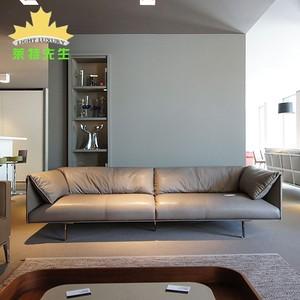 都挺好明总办公室同款直排沙发北欧后现代轻奢设计师纳帕真皮家具