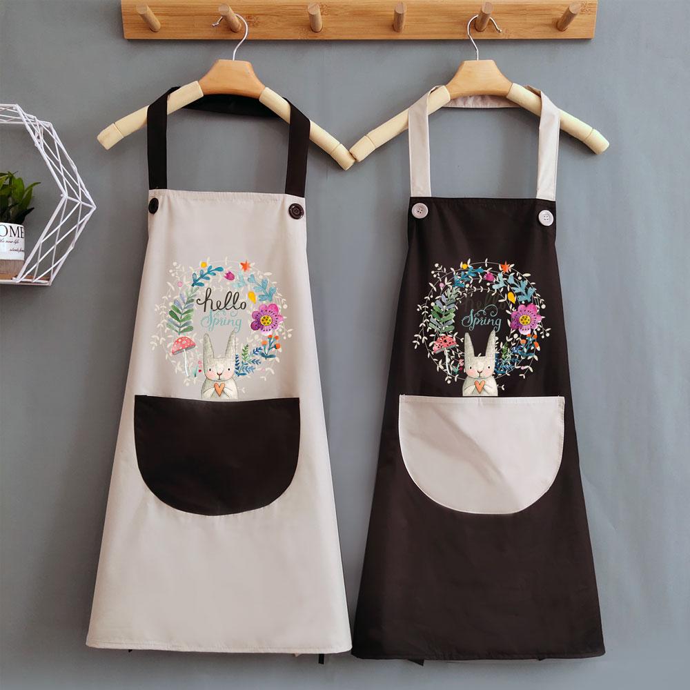 夏天可爱做饭女围裙家用厨房防水防油日系大人工作围腰围布定制