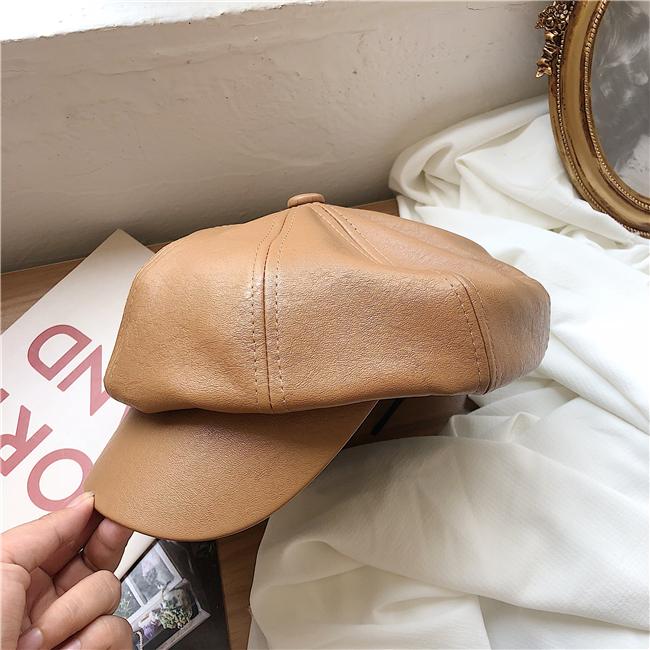 レベルアップ版の好皮質八角帽の女性イギリスファッションpu皮貝雷帽子秋冬のヴィンテージ画家帽