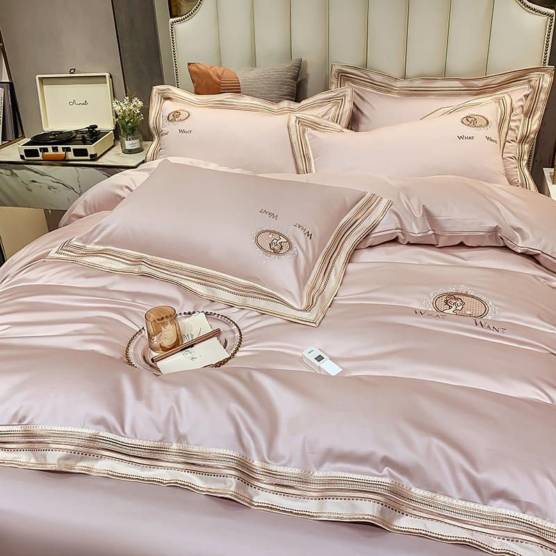 4支长绒棉轻奢风四件套全棉纯棉欧式简约床单被套床上用品100高端