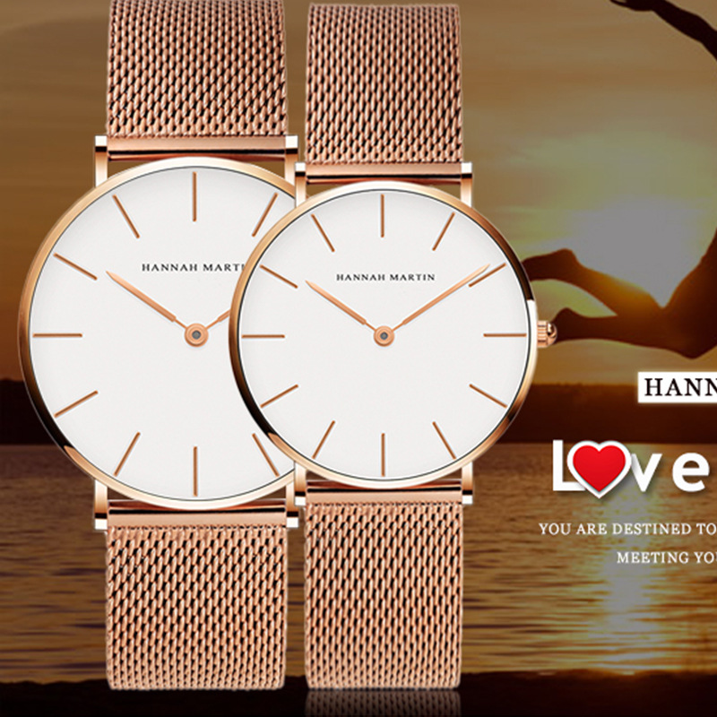 New imported movement stainless steel mesh belt for couples waterproof fashion leisure shopping business quartz watch cool