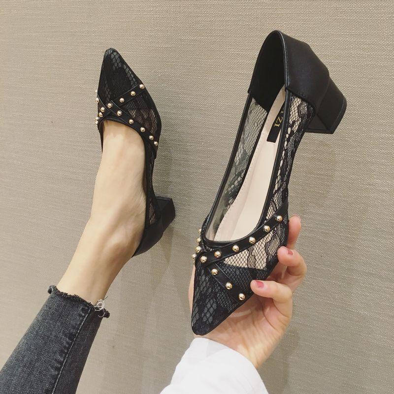 2020夏季新款蕾丝网纱透气高跟鞋粗跟交叉铆钉尖头性感显瘦女单鞋