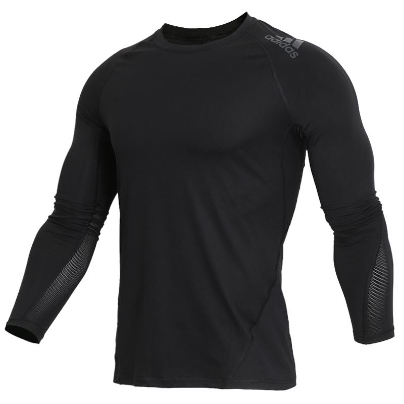 阿迪达斯长袖男装2018夏季薄款训练紧身衣 跑步训练吸汗T恤CF7267