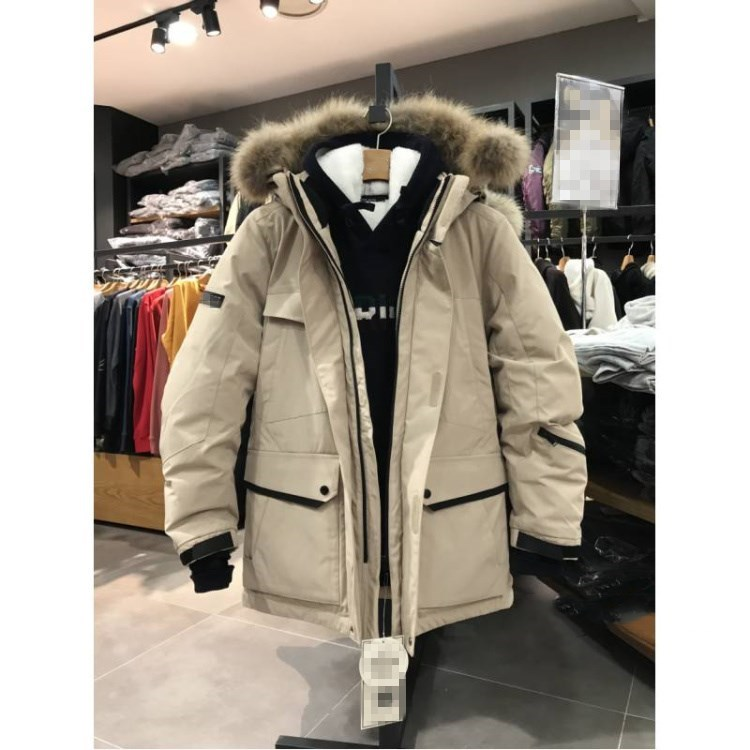 19 new Korean version men and womens mid long large hairy collar thickened warm sports outdoor skiing white duck down down down down jacket