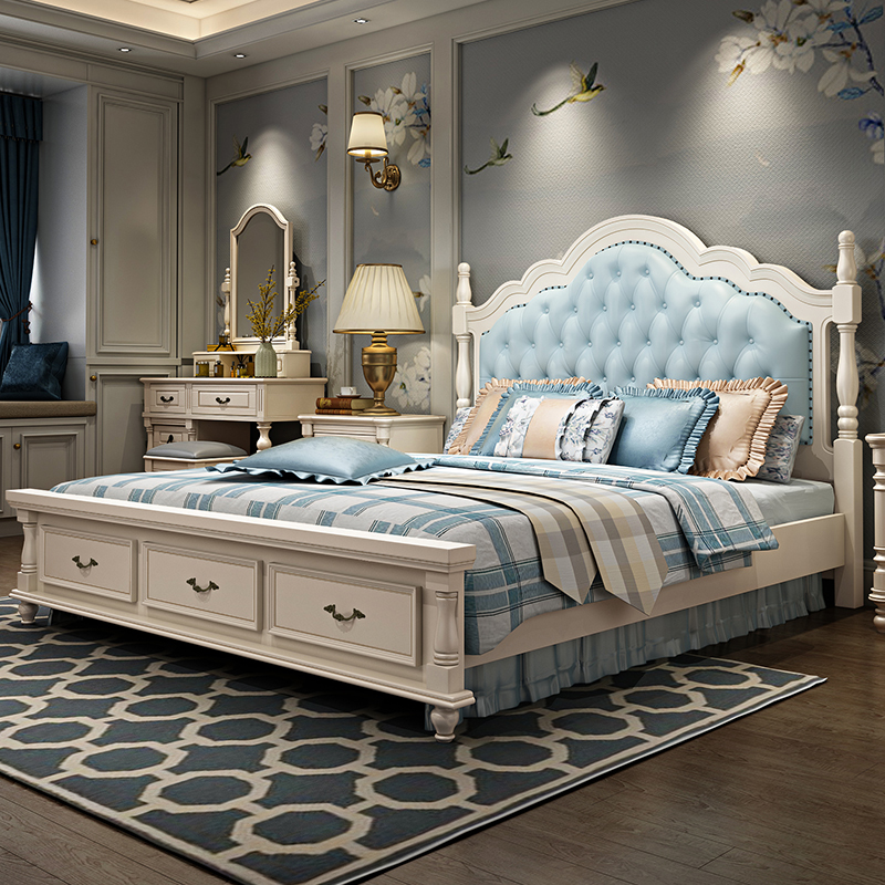American bed solid wood bed 1.8m European bed double bed master bed white luxury modern simple wedding bed furniture