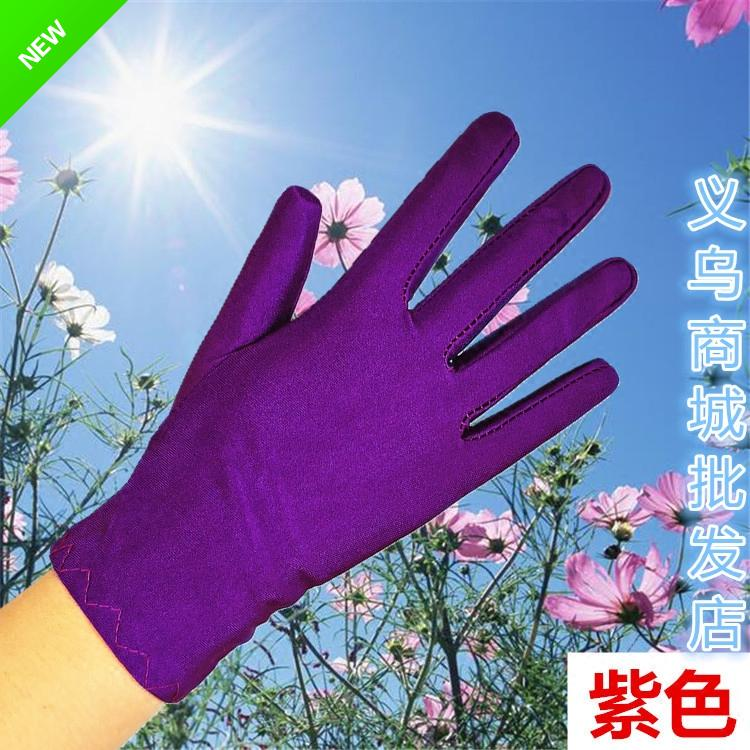 Spandex high elastic etiquette gloves men and women spring and autumn summer thin short black and white tight work show driving gloves