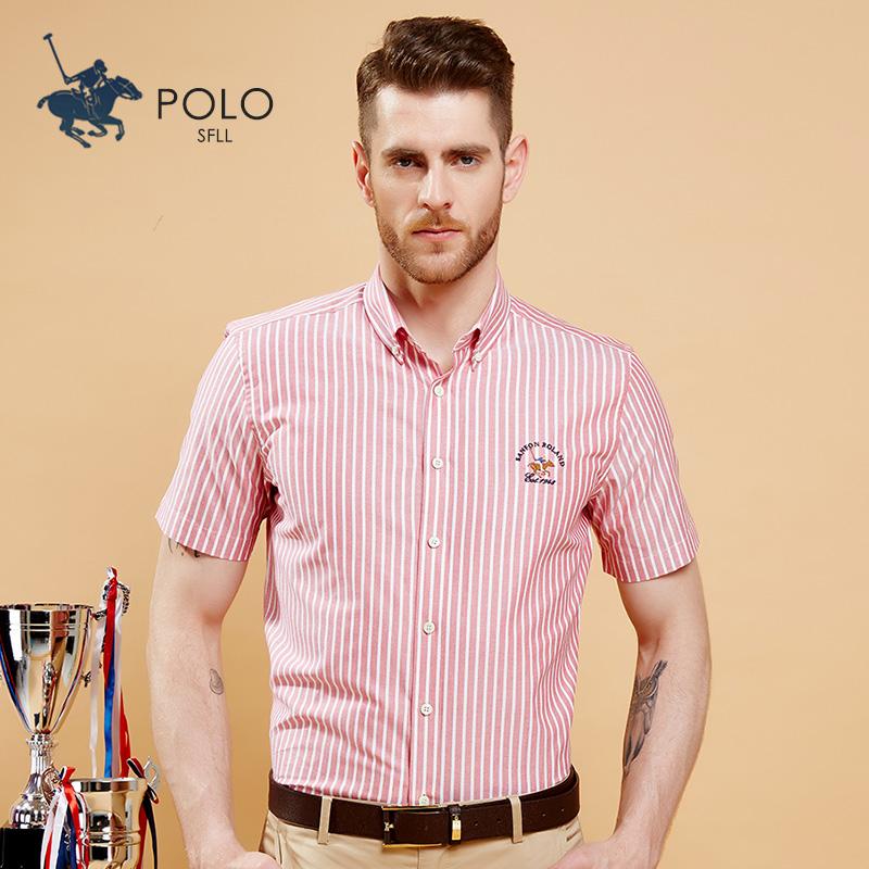 保罗新款夏季男士纯棉短袖衬衫商务休闲牛津纺红色条纹半袖寸衬衣