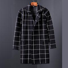 电商A024 N315 P90风衣男中长款针织衫开衫呢子外套毛呢大衣 挂拍