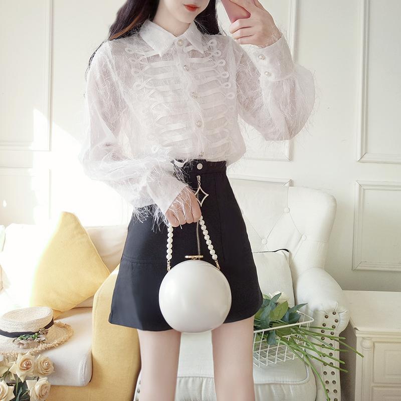 8775#全店实拍 2019春夏新款流苏白衬衫套装裙两件套 洋气 时尚