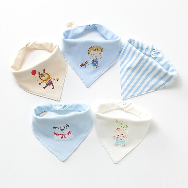 婴儿口水巾三角宝宝纯棉防吐奶围嘴按扣韩版大号新生儿童围巾头巾