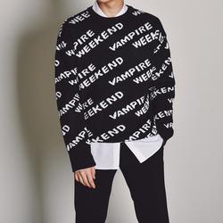 秋冬新款韩国男装代购字母圆领毛衣男士韩版宽松套头针织衫-ST269