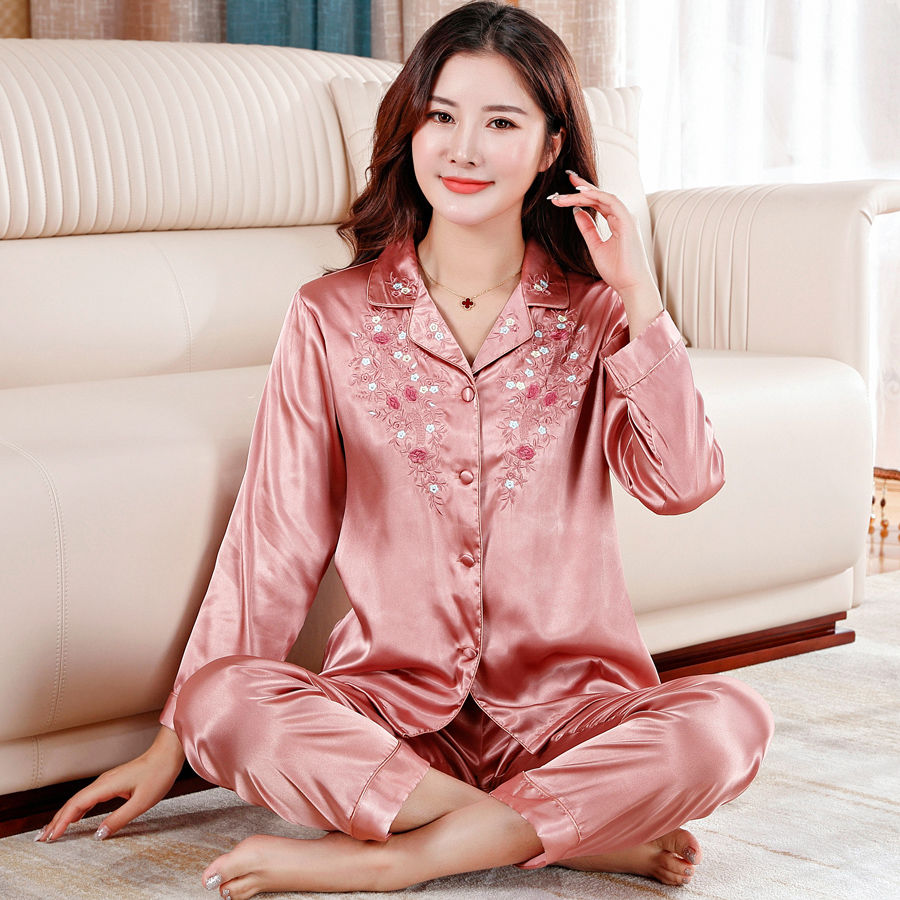 Mother silk pajamas womens spring and autumn long sleeve thin style loose large two-piece set of summer ice silk home clothes can be worn outside