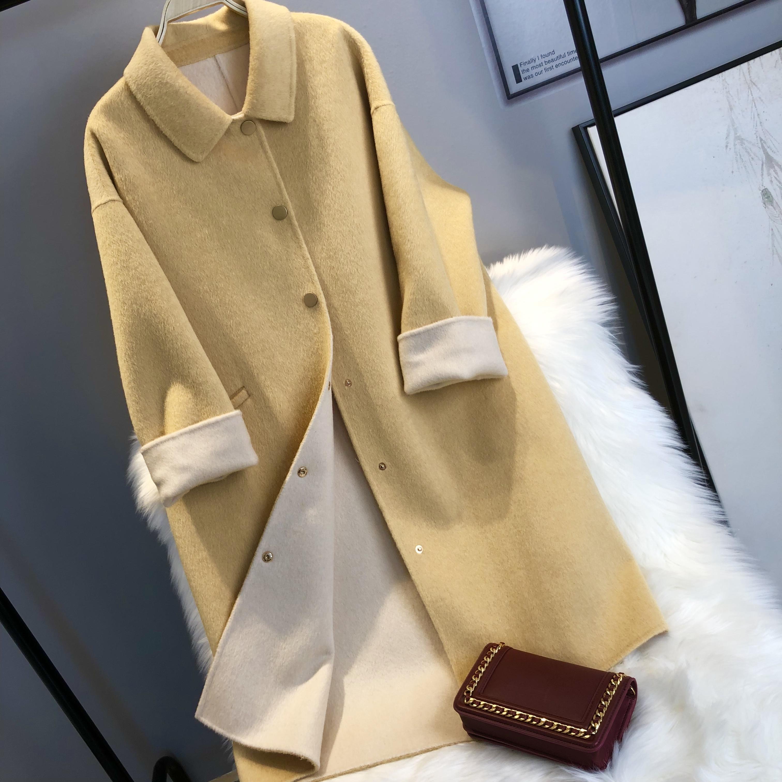2019冬季新款双面羊绒大衣女 羊毛呢外套阿尔巴卡中长款娃娃领A型