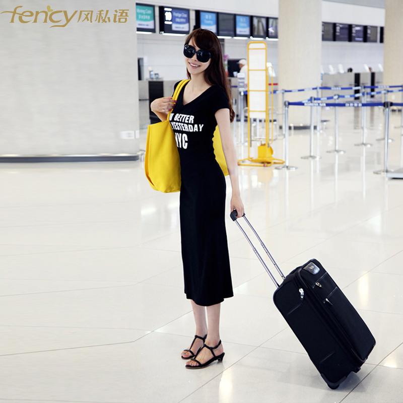 T恤长裙修身短袖V领打底连衣裙大码夏装新款韩版女装莫代尔长裙子