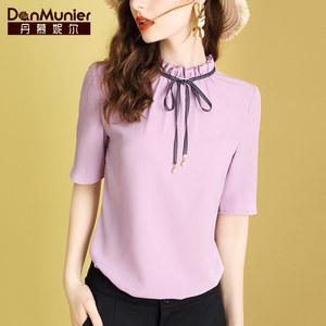 丹慕妮爾淺紫色中袖小衫上衣女夏2020新款名媛氣質百搭蝴蝶結襯衫