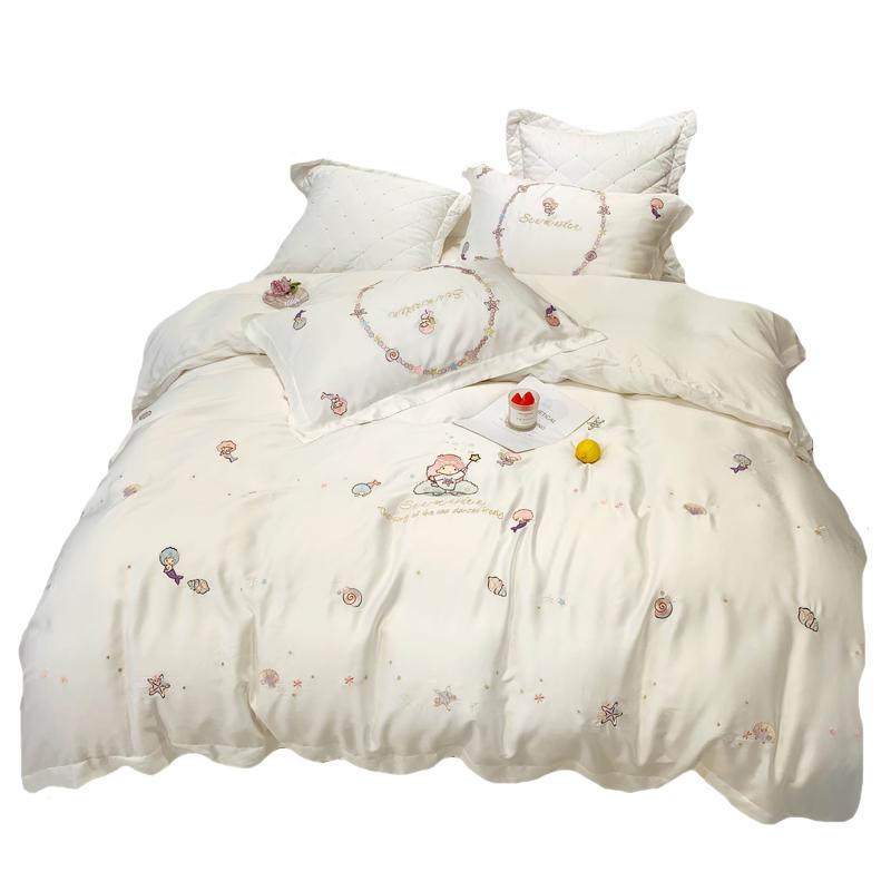 公主风简约80S兰精天丝夏季四件套美人鱼刺绣被套白色床上用品