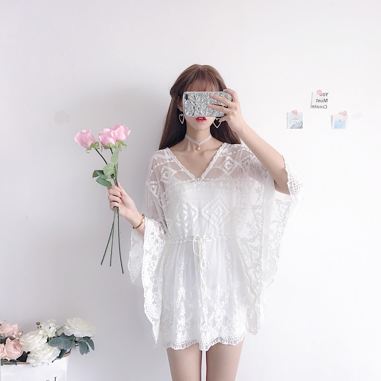 超酷女装套装个性潮流出游必备镂空刺绣蕾丝花边仙女风罩衫+吊带