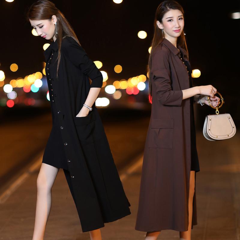 New long windbreaker womens 2019 spring and Autumn over knee coat medium length thin fit Korean style coat trend