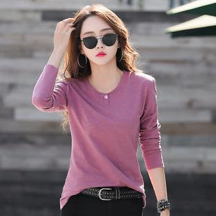 工廠直供 春季新款修身時尚全棉上衣 熱銷爆款女士t恤上衣