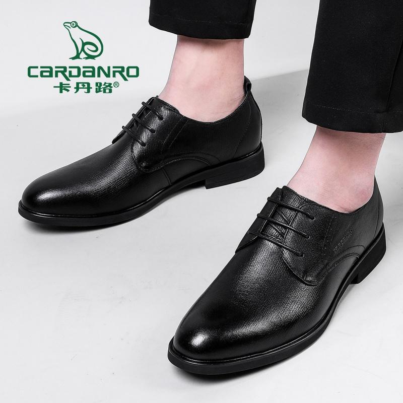 卡丹路春夏尖头系带男士商务正装皮鞋德比鞋男士真皮皮鞋