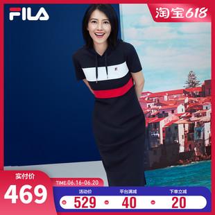 FILA斐乐女裙连衣裙高圆圆同款 2021年夏季 连帽女子运动休闲连衣裙