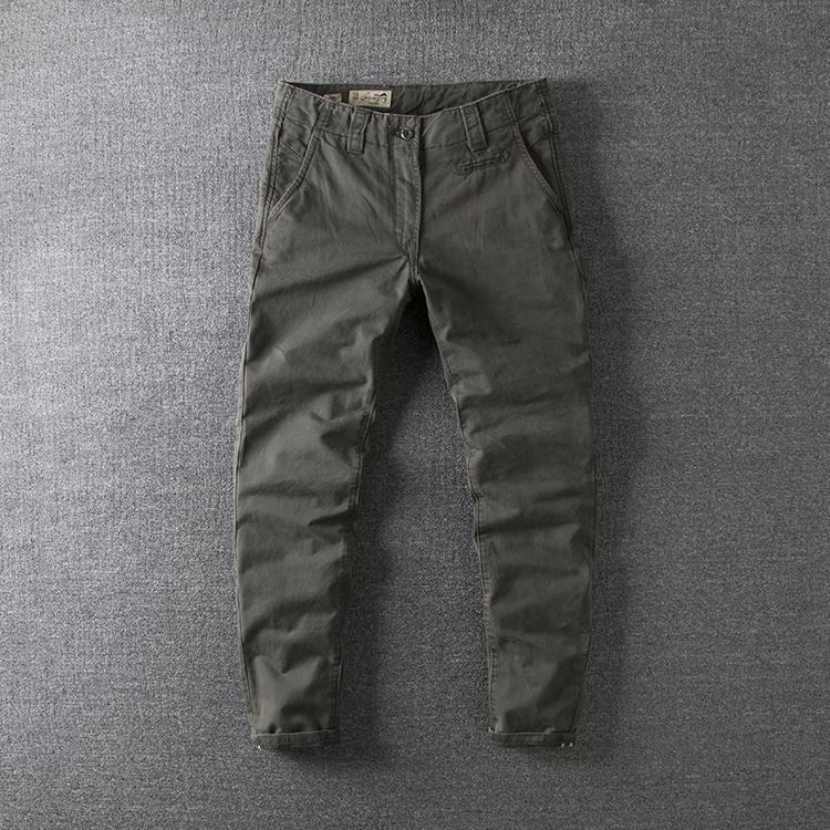 布袋装 欧美英伦复古纯棉水洗做旧修身欧美男休闲裤长裤