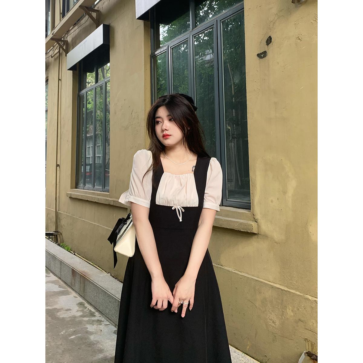 安妮不火法式连衣裙早春新款2021微胖显瘦气质长裙修身温柔小黑裙