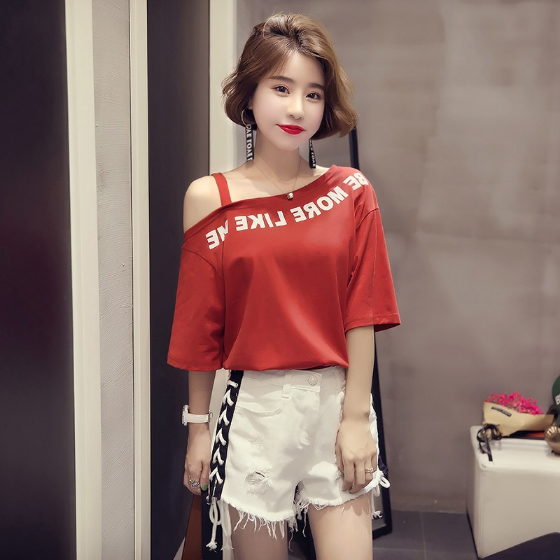 Summer new short sleeve T-shirt womens versatile off shoulder lettered printed students top